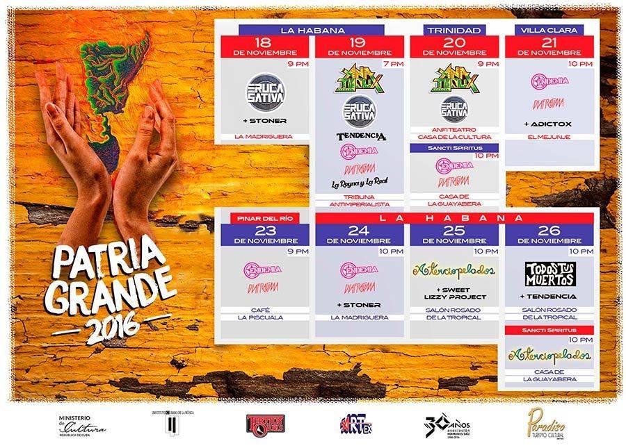 Cartel de las bandas participantes en la edición 2016 del festival Patria Grande. Foto: cortesía del autor.