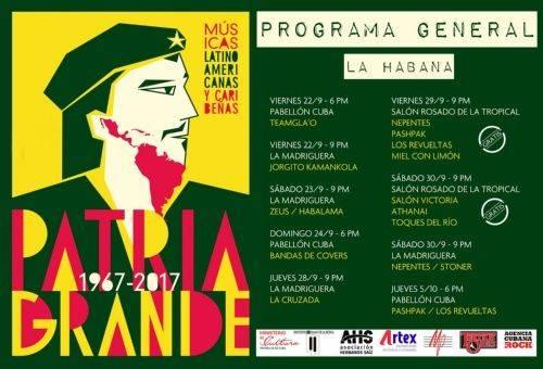 Cartel de las bandas participantes en la edición 2017 del festival Patria Grande. Foto: cortesía del autor.