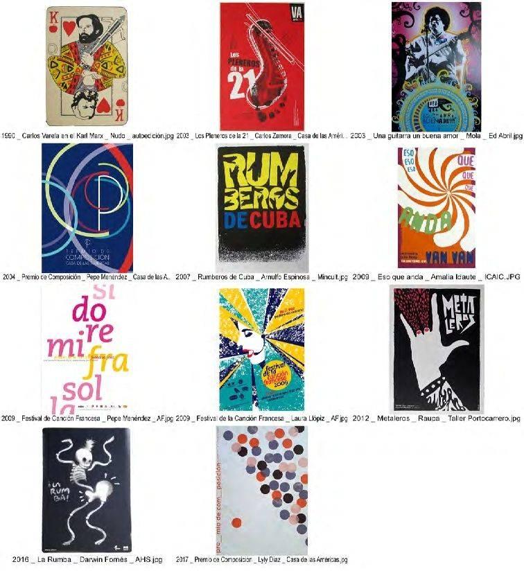 Algunos carteles cubanos emblemáticos relacionados con la música. Foto: Cortesía del autor.