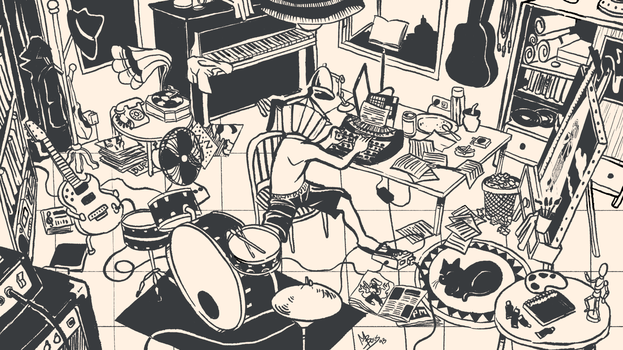 Musical Office Illustration: Mayo Bous