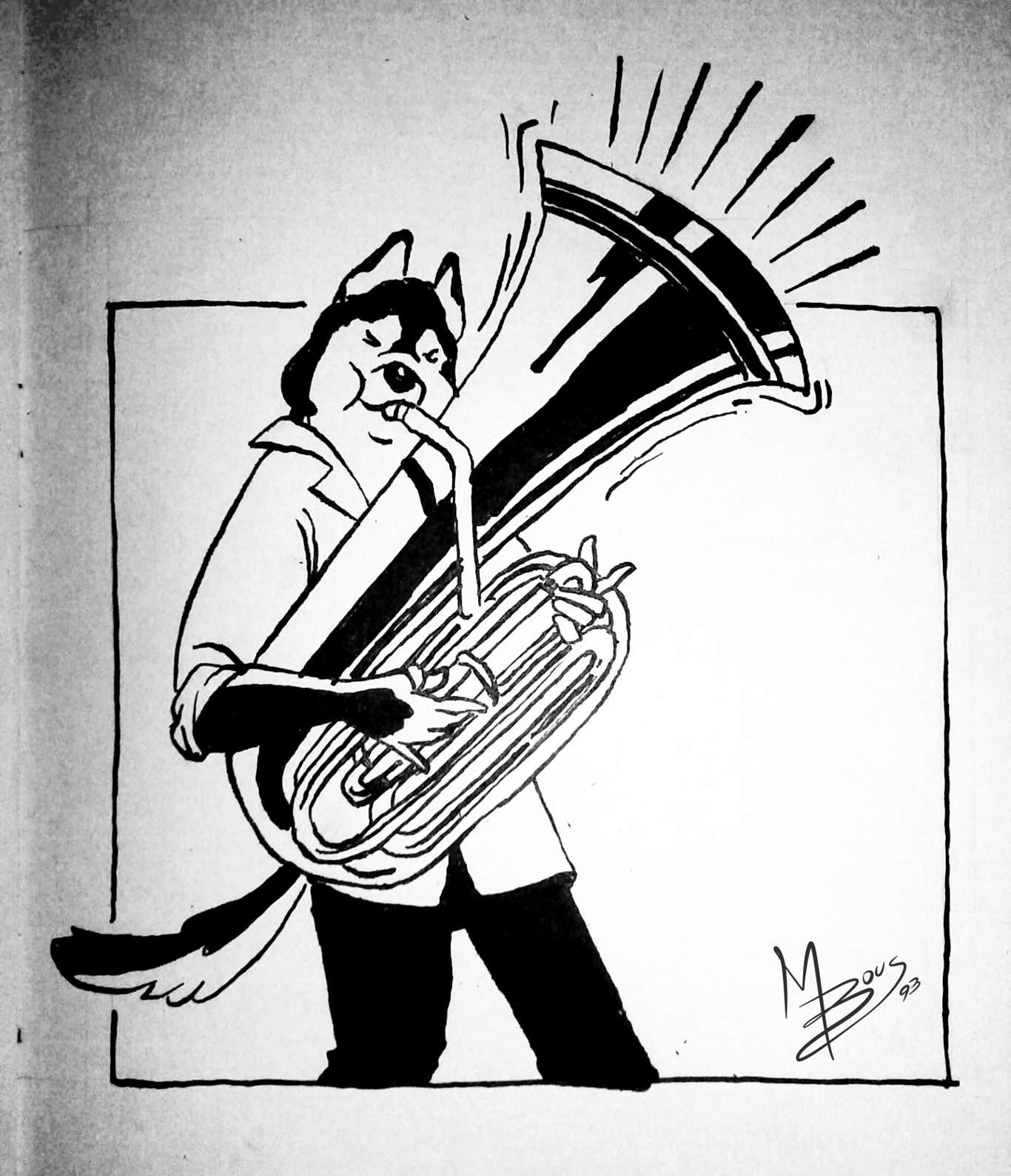 Inktober Día 6: Husky. Ilustración: Mayo Bous / Magazine AM:PM.