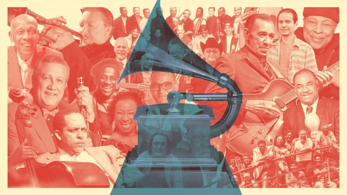 Cubanos ganadores en los Premios Grammy. Ilustración: Kalia León / Aldo Cruces / Magazine AM:PM.