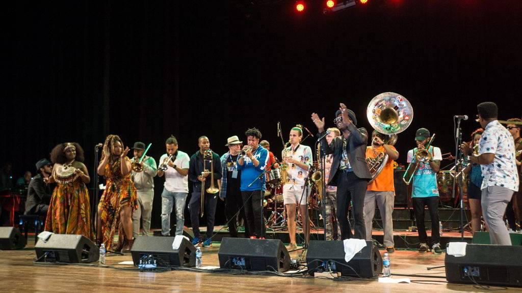 Tank and The Bangas, The Soul Rebels, Trombone Shorty Foundation y Cimafunk como parte del evento Getting Funky in Havana, en el Festival Internacional Jazz Plaza 2020. Foto: Rolo Cabrera / Magazine AMPM.