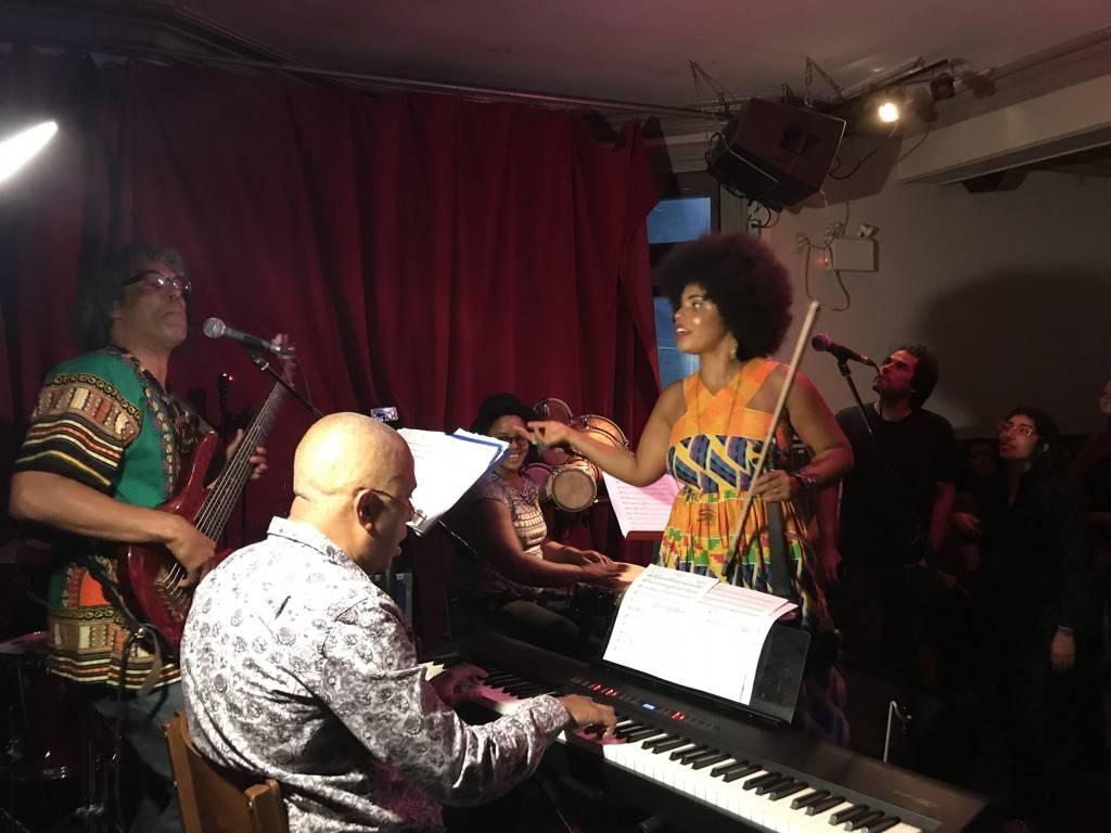 OKAN with Miguel de Armas and Roberto Riverón in concert at the Grad Club. Photo: Karen Dubinsky.